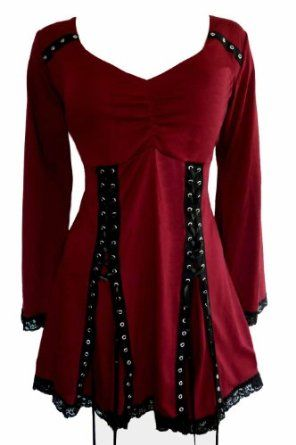 Dare To Wear Gothic Victorian Women's Plus Size Electra Corset Top - Price: 	$65.95 - $65.99: Twin grommetted lace-ups on skirt can be tightened for fitted look or loosened for baby-doll shape.