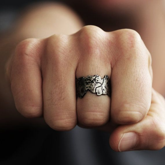 Mens Silver Ring Scratched Antique Cool by carpediemjewellery