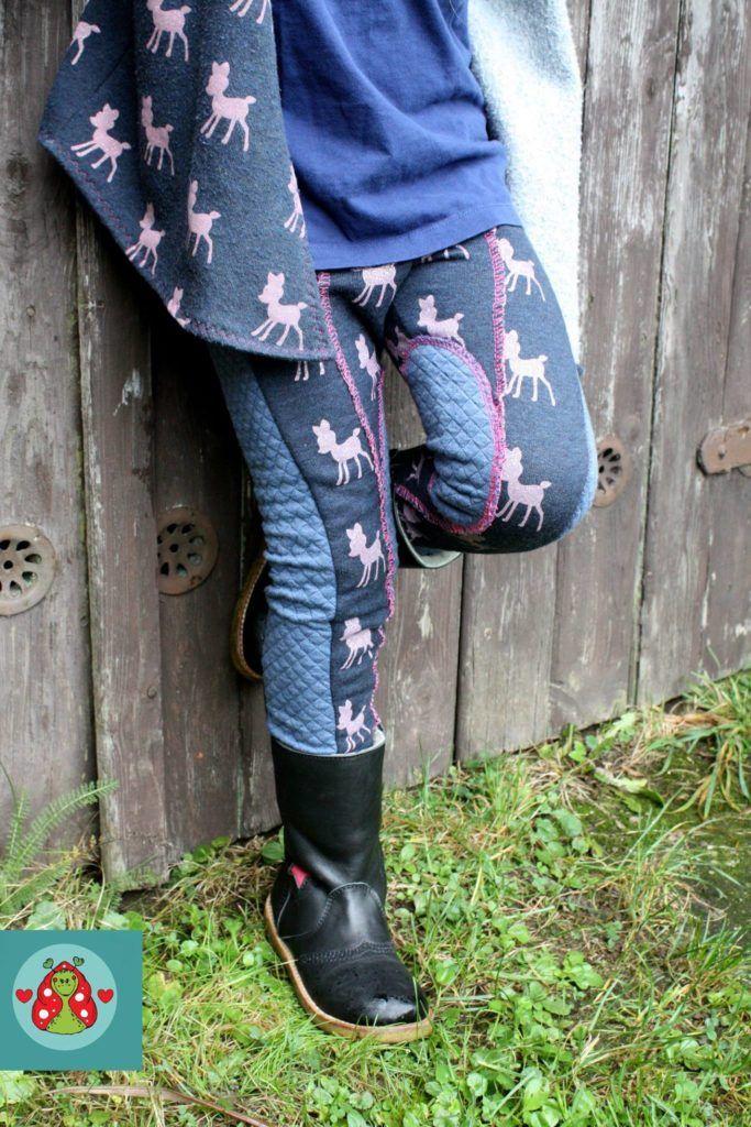 Leggings im Reiterhosenlook für Mädchen nähen: Schnittmuster erbsenprinzessin MultiFit Leggings, genäht von handgemacht im Schneckengrün