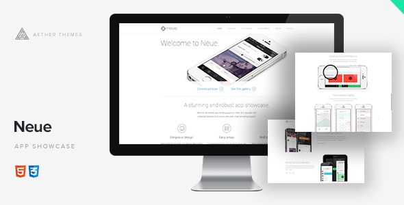Neue - App Landing Page by Aether-Themes  Neue. A stunning and robust app showcase. Neue is the newest app landing page out there. It is equiped with amazing features and comes with even more amazing support.  FeaturesNew! Fully responsive Android and iOS versions Sli