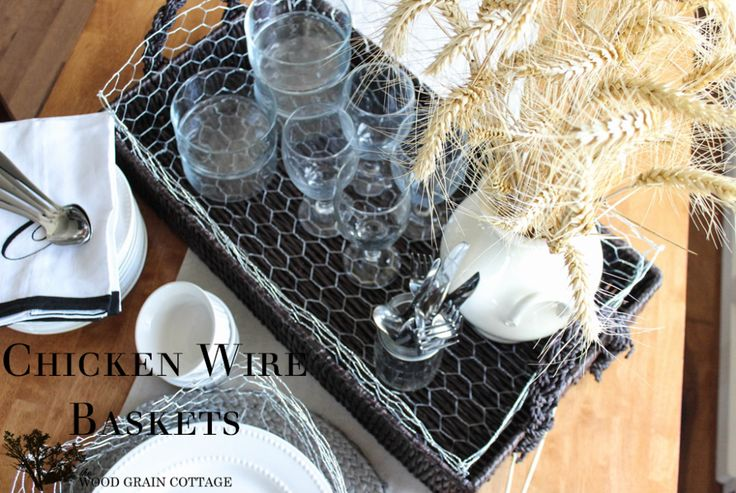 Easy Chicken Wire Baskets by The Wood Grain Cottage