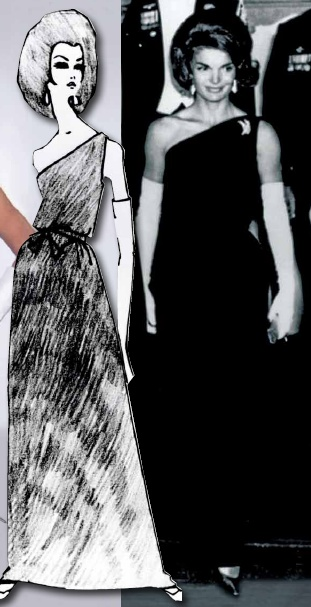 The unexpected asymmetry of the one-shoulder gown draws the eye to the top of the dress. It appears regal against a narrow silhouette as well as the soft draping of a Grecian inspired look. When Jackie Kennedy wore this Oleg Cassini black velvet one-shoulder down with long white gloves and diamonds it instantly ascended into the realm of a classic iconic image.