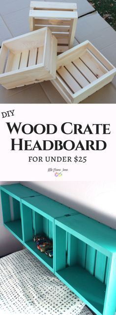 Use wood half crates and chalk spray paint to create a simple DIY Wood Crate Headboard for under $25!