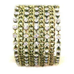 "Just Give Me Jewels Goldtone Rhinestone Multi Chain Stretch Bracelet Just Give Me Jewels. $19.95. Goldtone wide stretch bracelet. Fits most wrist size. 1.75"" wide. Multi-chain and rhinestone design. Save 23% Off!"