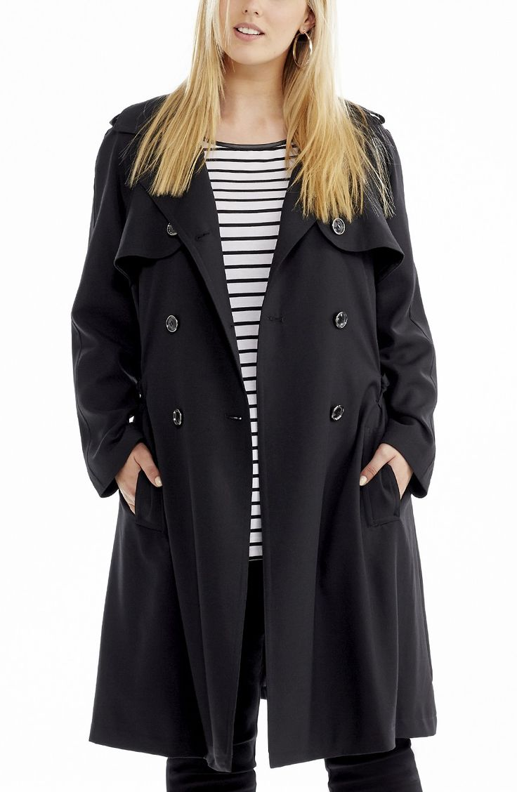 Classic Trench Coat -black - Style No: JK11130 Twill Fabric classic Fully Lined Trench Coat. This below knee length coat is double breasted . It features button down lapels and shoulder epaulets. It comes with a self tie belt and has tab detail side pockets #dreamdiva #dreamdivafiles #fashion #plussize