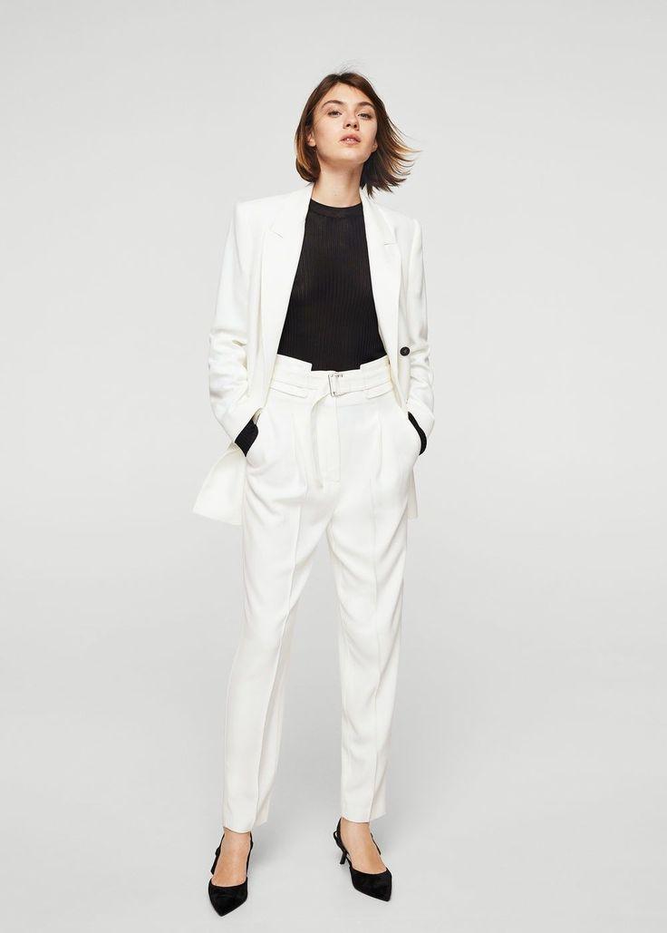 Belt wool trousers
