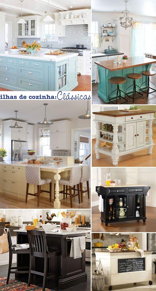 Ilhas para a cozinha com visual clássico.
