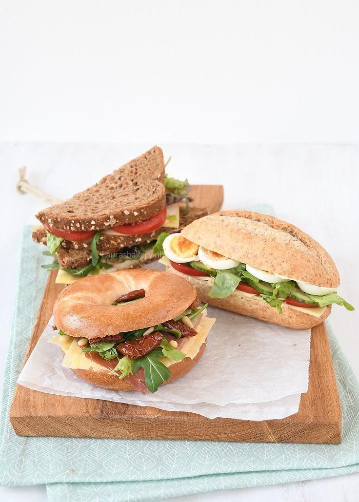 3x belegde broodjes voor de lunch - Laura's Bakery