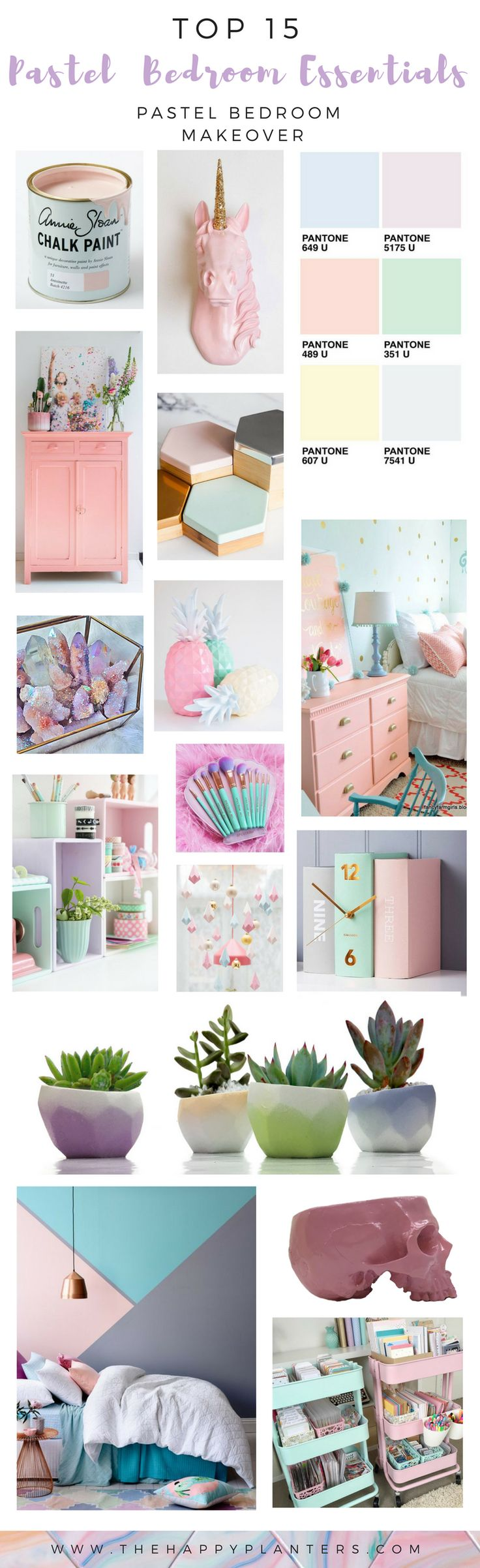 "Pastel Bedroom Essentials is a Pastel Aesthetic Guide w/ Source List & Inspiration Board for a Pastel Bedroom Make over >>See original post: _______        ______  https://www.thehappyplanters.com/single-post/2017/07/30/PASTEL-BEDROOM-MAKEOVER                                                         ___ > > >Pastel Home Decor  easy steps to Create the Pastel Unircorn Look you are dreaming about ""Pastel Minimalism""< < <___"