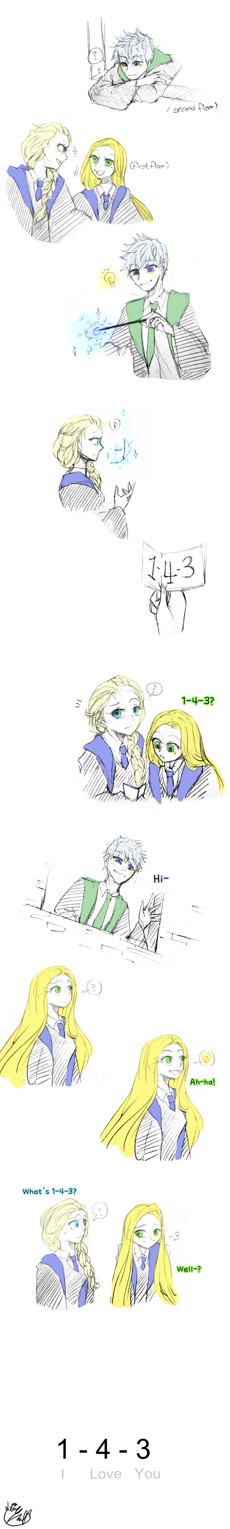 1-4-3 by Lime-Hael on deviantART | Frozen's Elsa, Rise of the Guardians' Jack Frost, and Tangled's Rapunzel | J.K. Rowling's Harry Potter