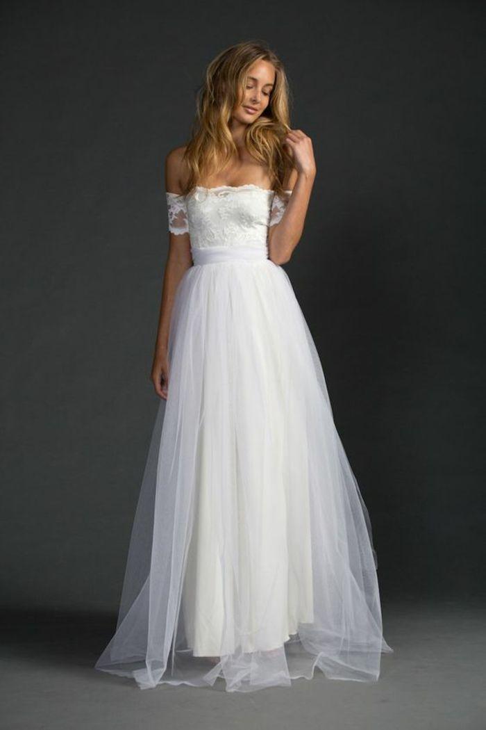 Mignonne robe de mariée trapèze robe de mariée sirene idée dentelle top