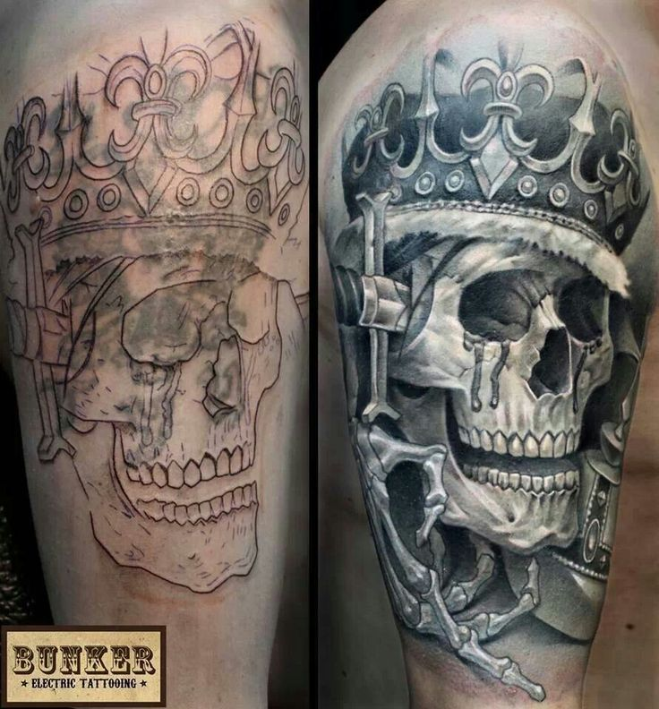 Cool cover up skull crown skeleton hand black and grey for Mobile tattoo artist
