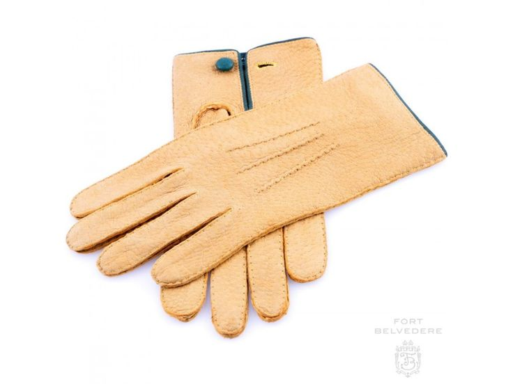 Peccary Gloves in Chamois Yellow Unlined & Handsewn by Fort Belvedere size 7.5 or 8