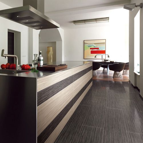 A modern kitchen featuring contrasting RICE WHITE & EBONY coloured wood effect porcelain wall and floor tiles. #wood #effect #tiles