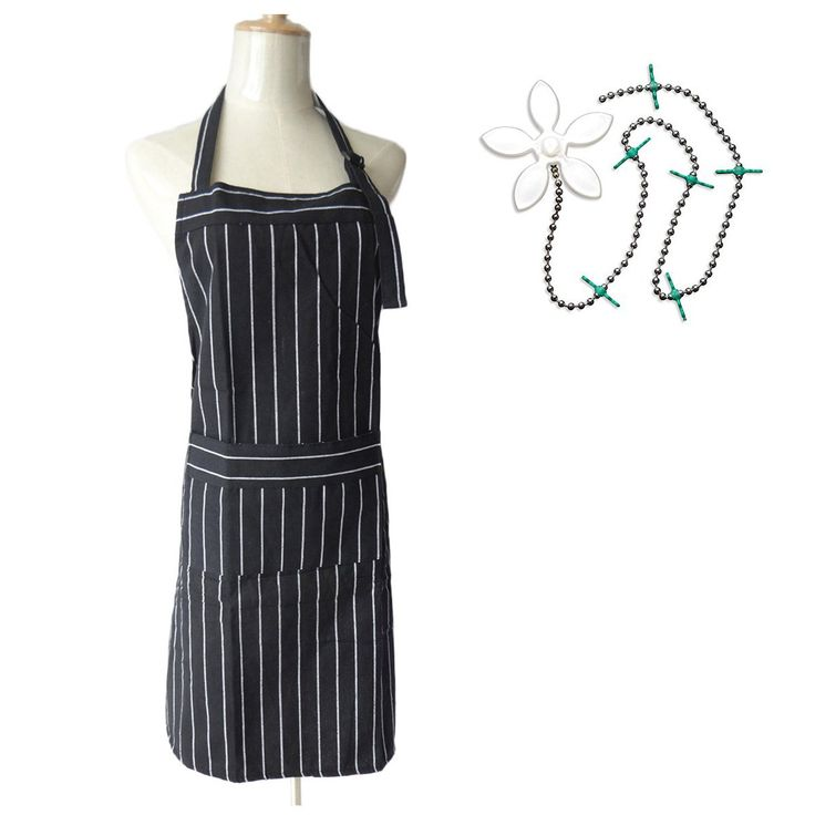 Surblue Professional Bib Apron with Adjustable Neck Strap & Extra Long Ties, Premium Commercial Grade Quality Great for Chef Works, Unisex Black White Chalk Stripe with Drain Wig