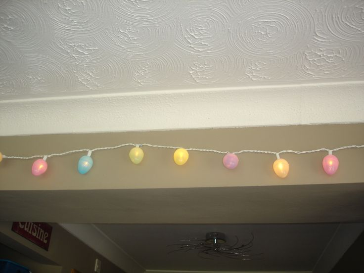 Easter Egg Fairy Lights Made with Clear White cabled Fairy Lights and Plastic Fillable Egg Hunt Eggs from £1 shop