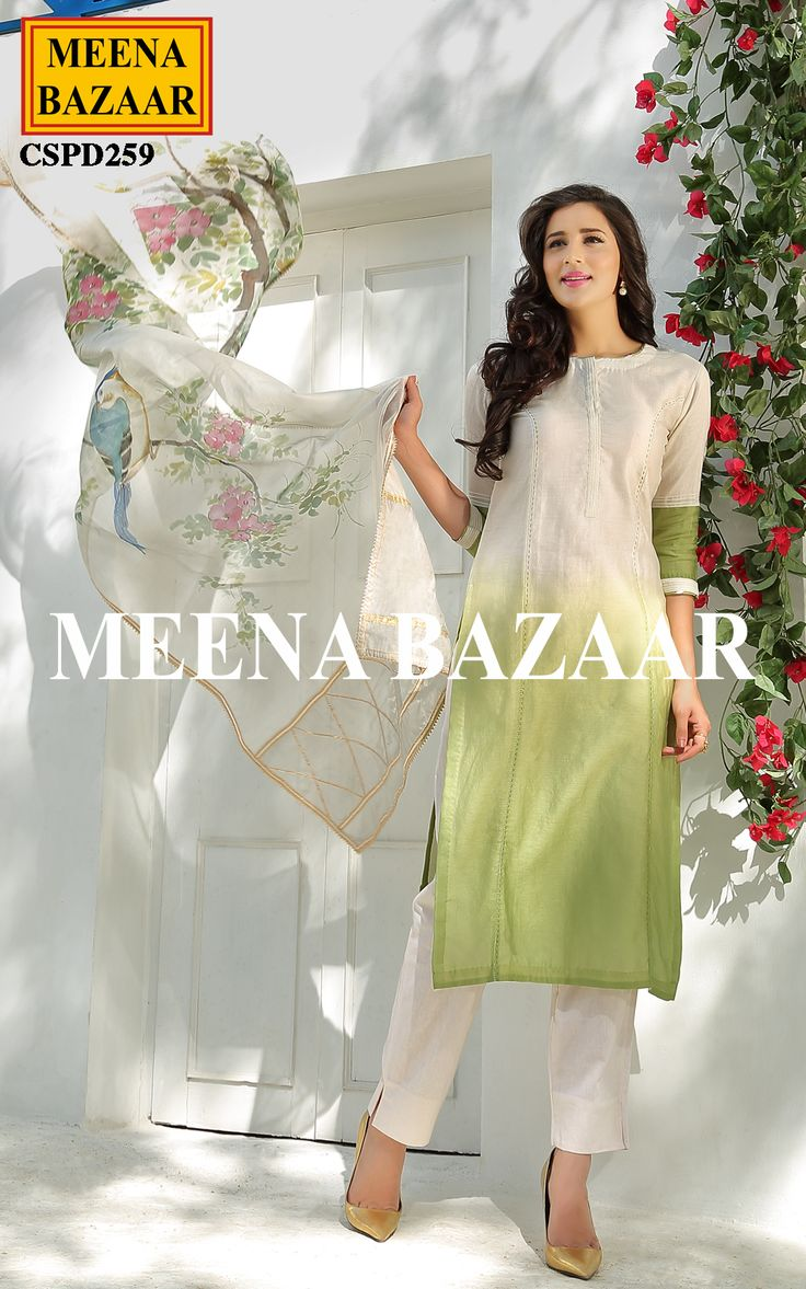 Meena Bazaar presents this Shaded chanderi salwar suit. Featuring shaded white and green shirt with printed chanderi dupatta with gota edging, makes it a perfect pick to enhance your ethnic appearance.