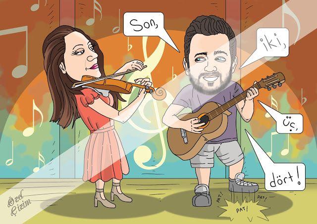 Hediye Karikat r Keman Gitar ve A k OzelCizim hediye