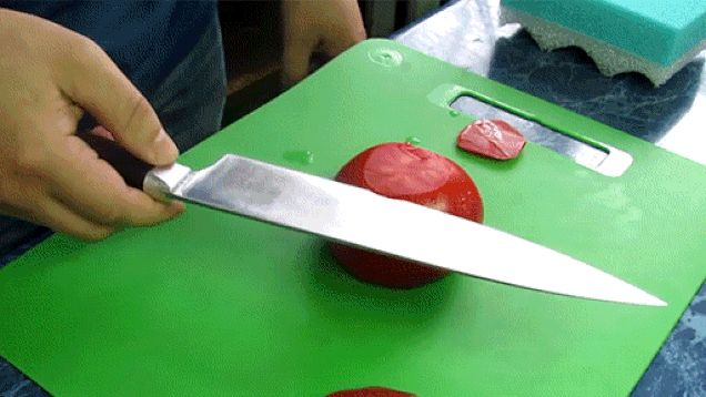 These slices are so thin, it should be illegal.   12 Extremely Satisfying GIFs Of Things Being Cut By Knives
