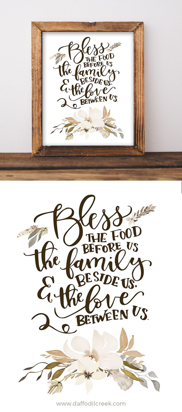 Cute mealtime blessing for your kitchen or dining room walls!