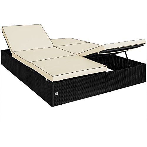Double Sun Lounger Day Bed Rattan with Padded Cushions Aluminium Frame