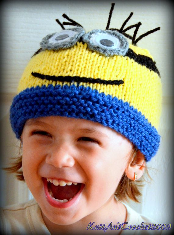 Baby Minion Hat Newborn Minion Beanie by KnitAndCrochet2009