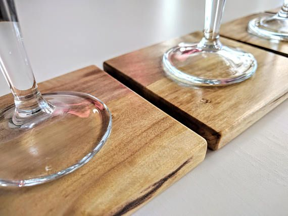 Set of 6 Wooden Coasters Square Coasters Wooden Pads