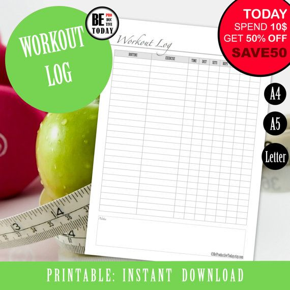 14 best Health and Fitness Planner Inserts and Planner Pages - workout log template
