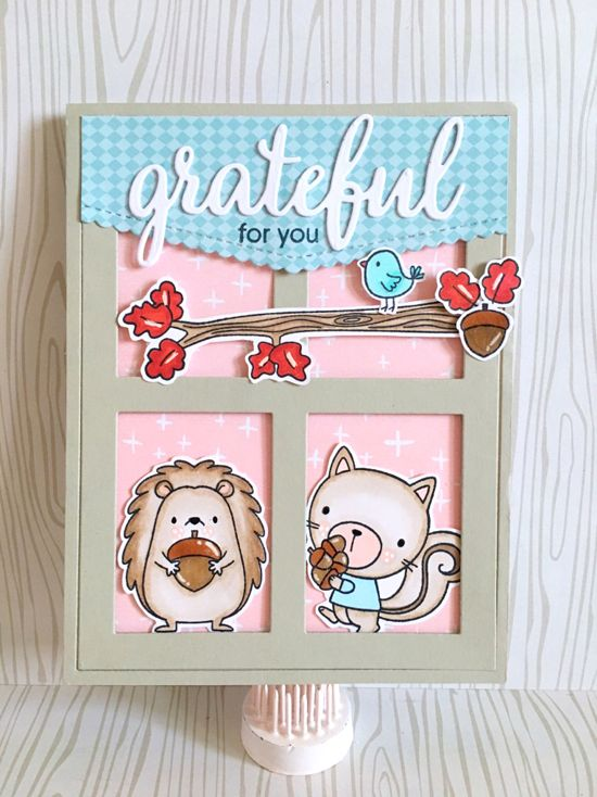 Grateful for You stamp set, Harvest Buddies and Birdie Brown Happy Hedgehogs stamp sets and Die-namics, and Stitched Scallop Basic Edges and Gift Box Cover-Up Die-namics - Maria Russell #mftstamps