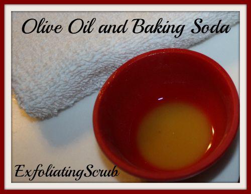 olive oil and baking soda exfoliating scrub Homemade Exfoliating Scrub