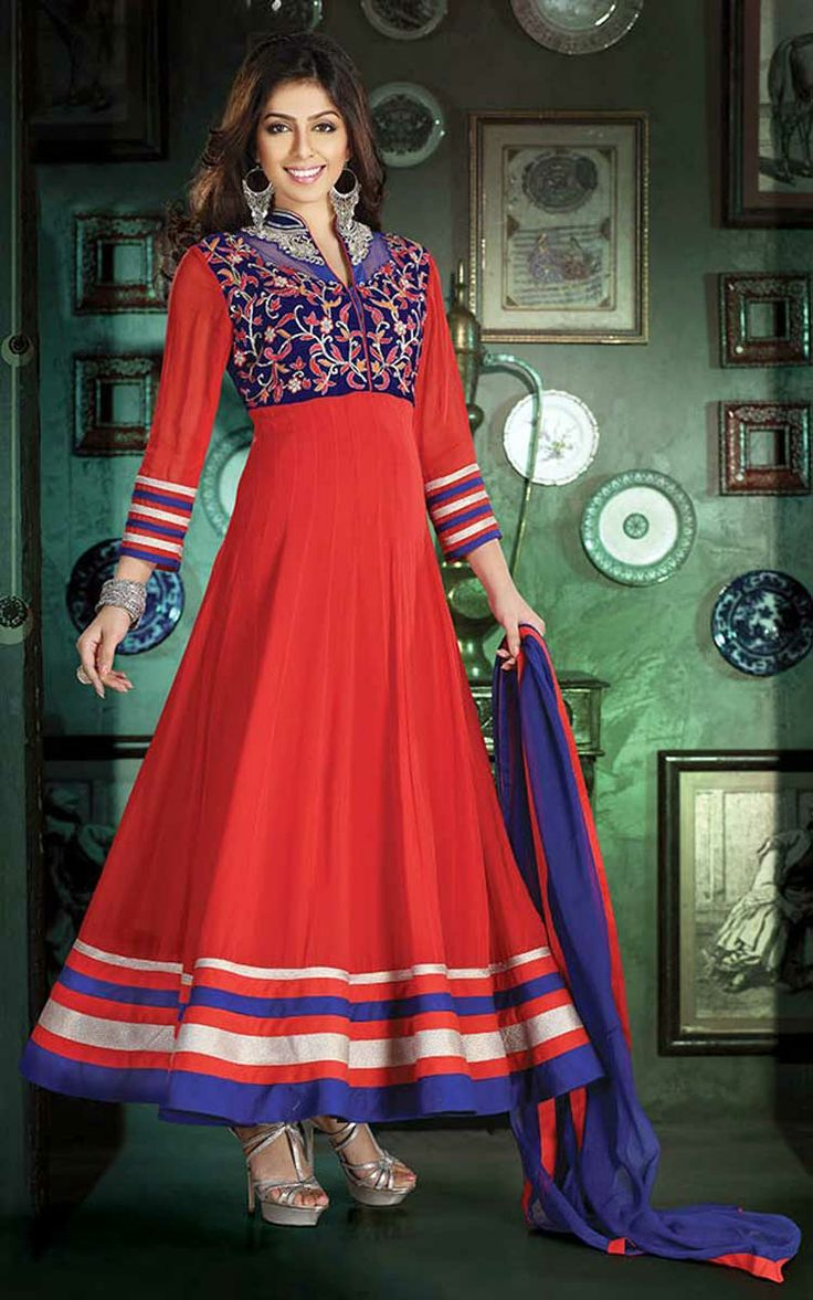 RED & BLUE GEORGETTE ANARKALI SALWAR KAMEEZ - DIF 29520