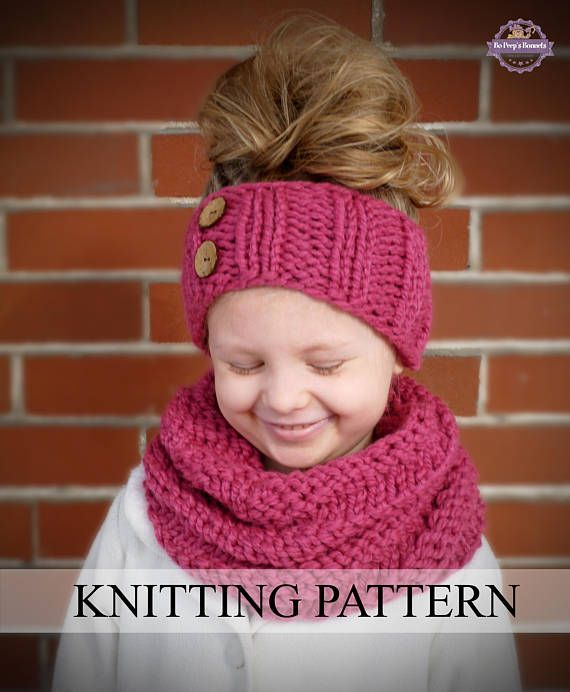 Instant Download Knitting Pattern Spiral Cowl And Headband Toddler