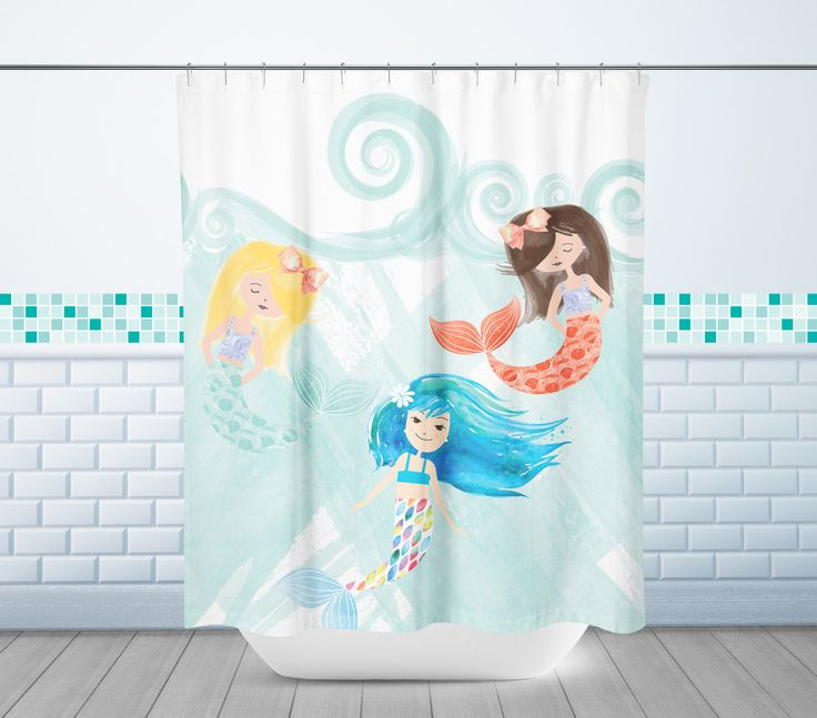 Mermaid Shower Curtain, Mermaid Friends Shower Curtain, Shower Curtain, Long Shower Curtain, Kid's Shower Curtain // N-XM28-1SH AA1 by PaperRamma on Etsy https://www.etsy.com/listing/469833207/mermaid-shower-curtain-mermaid-friends