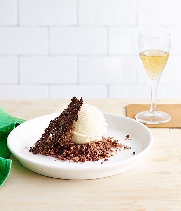 Honey ice-cream with linseed wafers and walnut crumble recipe :: Gourmet Traveller