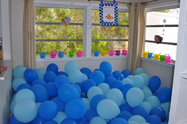 Sharks theme - water?  Fill the ball pit with balloons