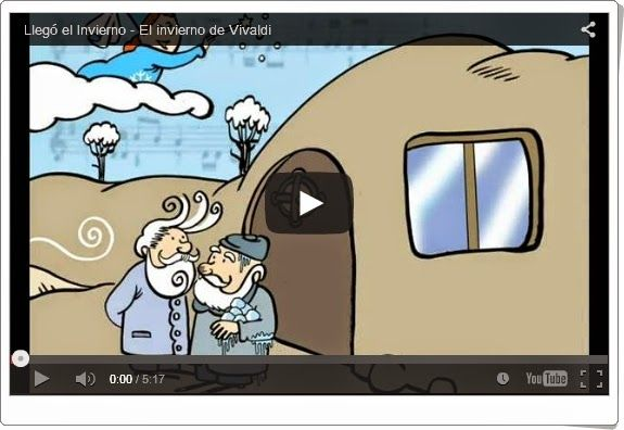 """""""Llegó el invierno"""", de musicaeduca.es, es una audición musical de """"El invierno"""" de Vivaldi y un bonito cuento que le da contenido en el que el invierno manda a los duendes a despertar al """"Genio del Frío"""" para que, llegado su tiempo, pueda empezar la estación."""
