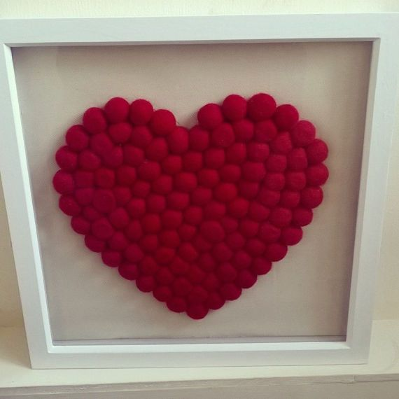 Heart frame felt balls felt shape heart shaped frame wall
