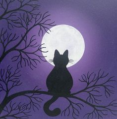Halloween Cat Silouette purple. Acrylic on canvas.