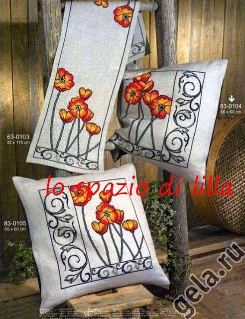lo spazio di lilla: Schemi a punto croce...Splendidi motivi floreali sui cuscini d'arredamento / Cross stitch patterns...Stunning floral motifs on cushions