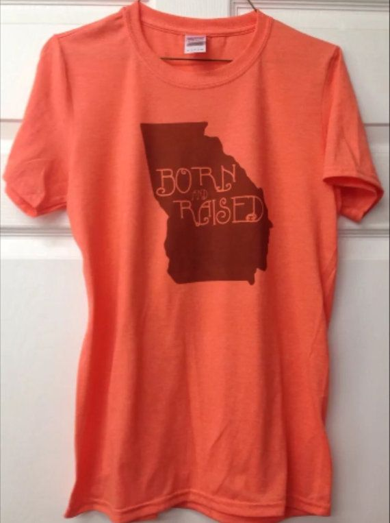 Georgia shirt born and raised peach shirt brown by KACExpress