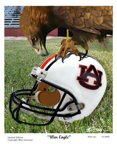 War Eagle Auburn Tigers Football Mascot Art Print