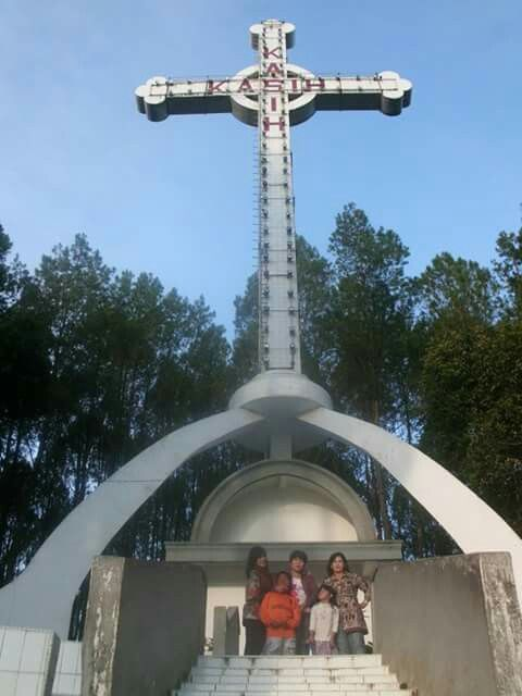 With my sisters, and doughter, and son, at Salib Kasih ( Cross monument of love ), Indonesia