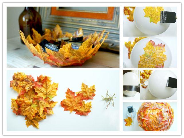 autumn leaf bowl diy #diycraft #leafbowl
