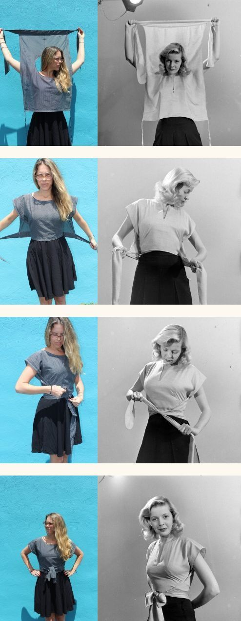 Retro wrap shirt sewing tutorial for women