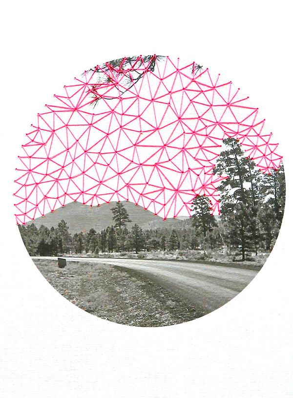"""Pink Sky"", Embroidery on paper                                                                                                                                                                                 More"