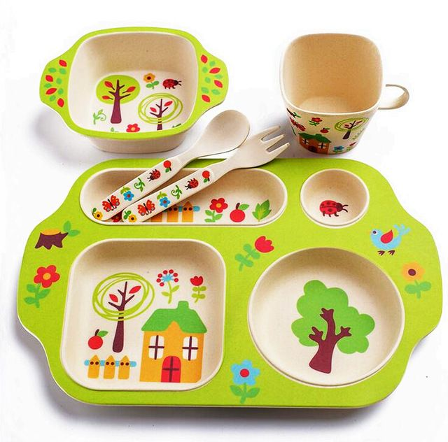 We love it and we know you also love it as well 5pc/set bamboo fiber children/kids/baby cutlery sets 100% green dinner plate bowl, water cup, fork healthy Dinnerware Sets just only $24.90 with free shipping worldwide  #dinnerware Plese click on picture to see our special price for you