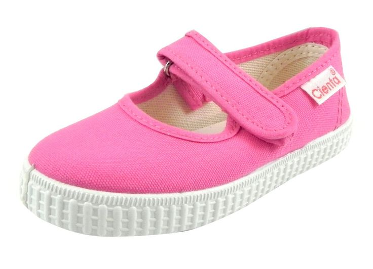 Cienta Mary Jane Sneakers for Girls - Fuchsia Casual Shoes with Adjustable Strap, 22 EU (6 M US Toddler)