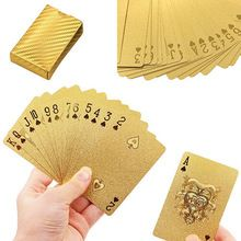 1 Set Golden Playing Cards Deck gold foil poker set Magic card 24K Gold Plastic foil poker Durable Waterproof Cards(China (Mainland))