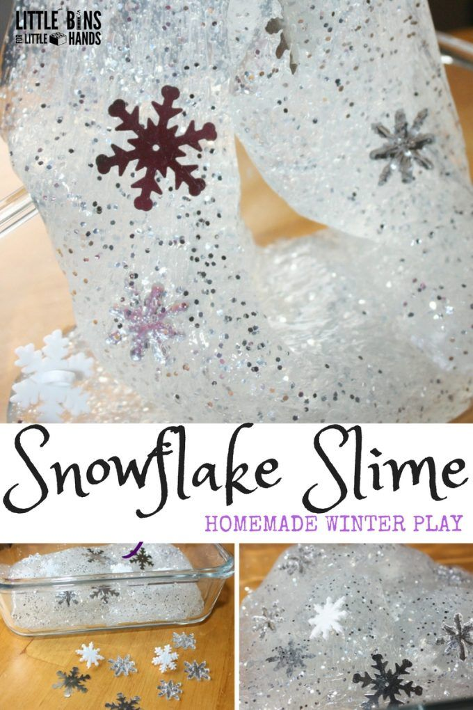 Make your own winter snowflake slime for an awesome seasonal science and sensory activity. Use our homemade liquid starch and clear glue slime recipe for easy slime. Just add glitter!