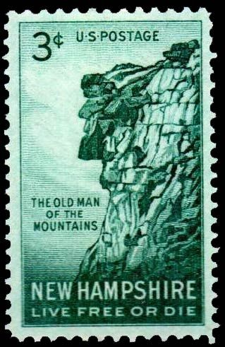US 3c Postage Stamp ~ 'Old Man of the Mountain', collapsed in 2003 ... gone but not forgotten.
